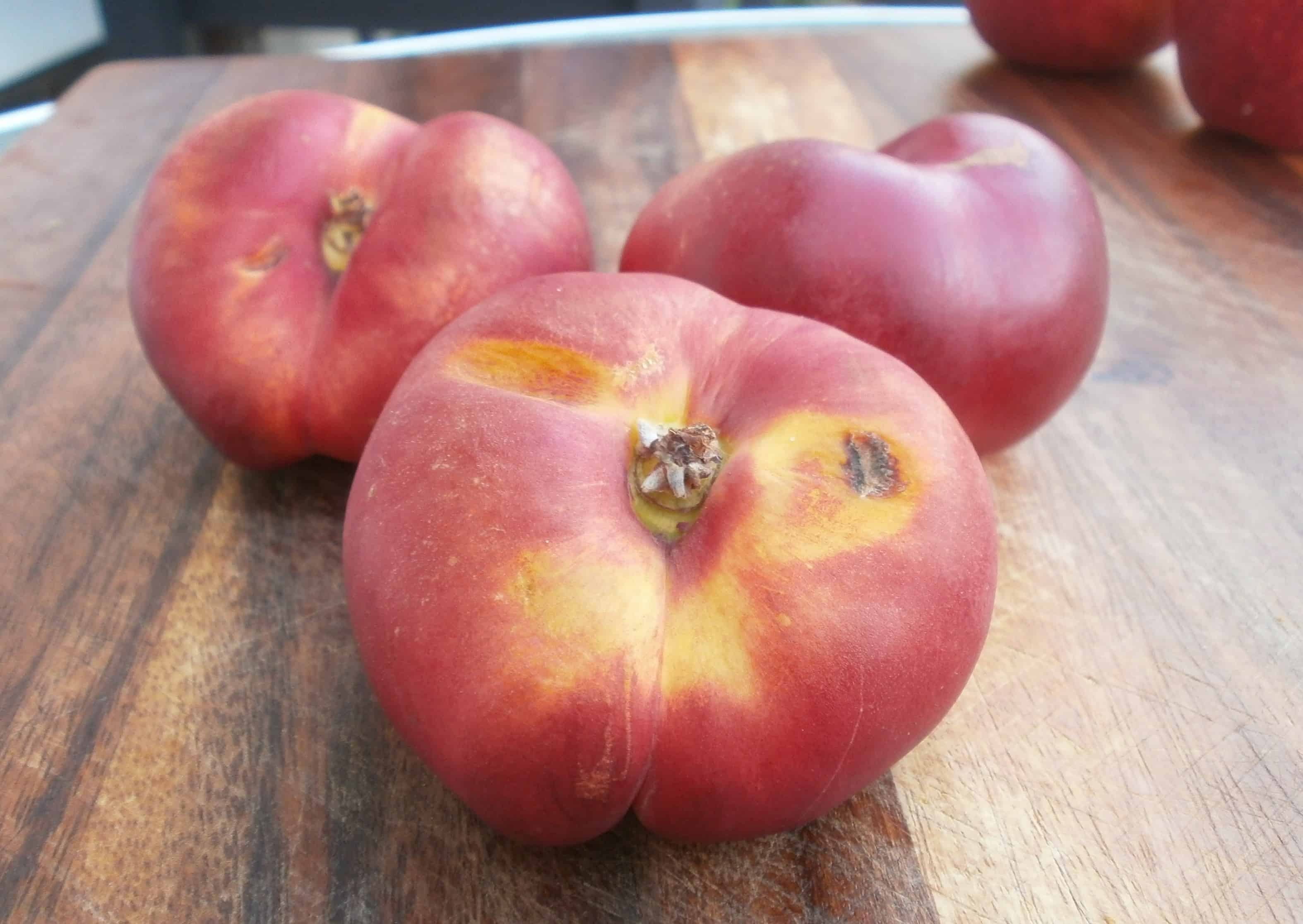 The ultimate in flat stone fruit - the Nectafire donut nectarine. Beautiful outside, bursting with flavor inside.
