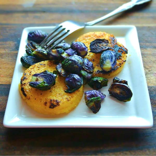 Purple Brussels Sprouts with Polenta