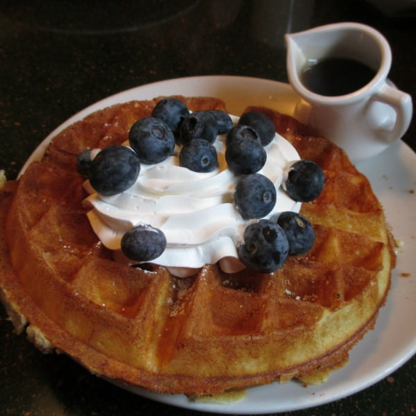 Waffles with Blueberry and Cream