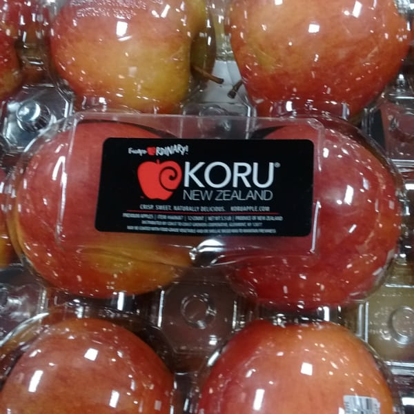 Koru apples that have been imported from New Zealand