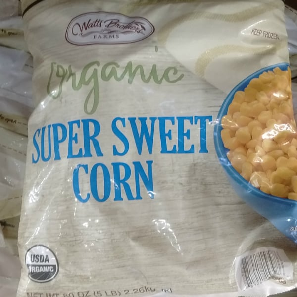 Organic sweet corn in the frozen department.