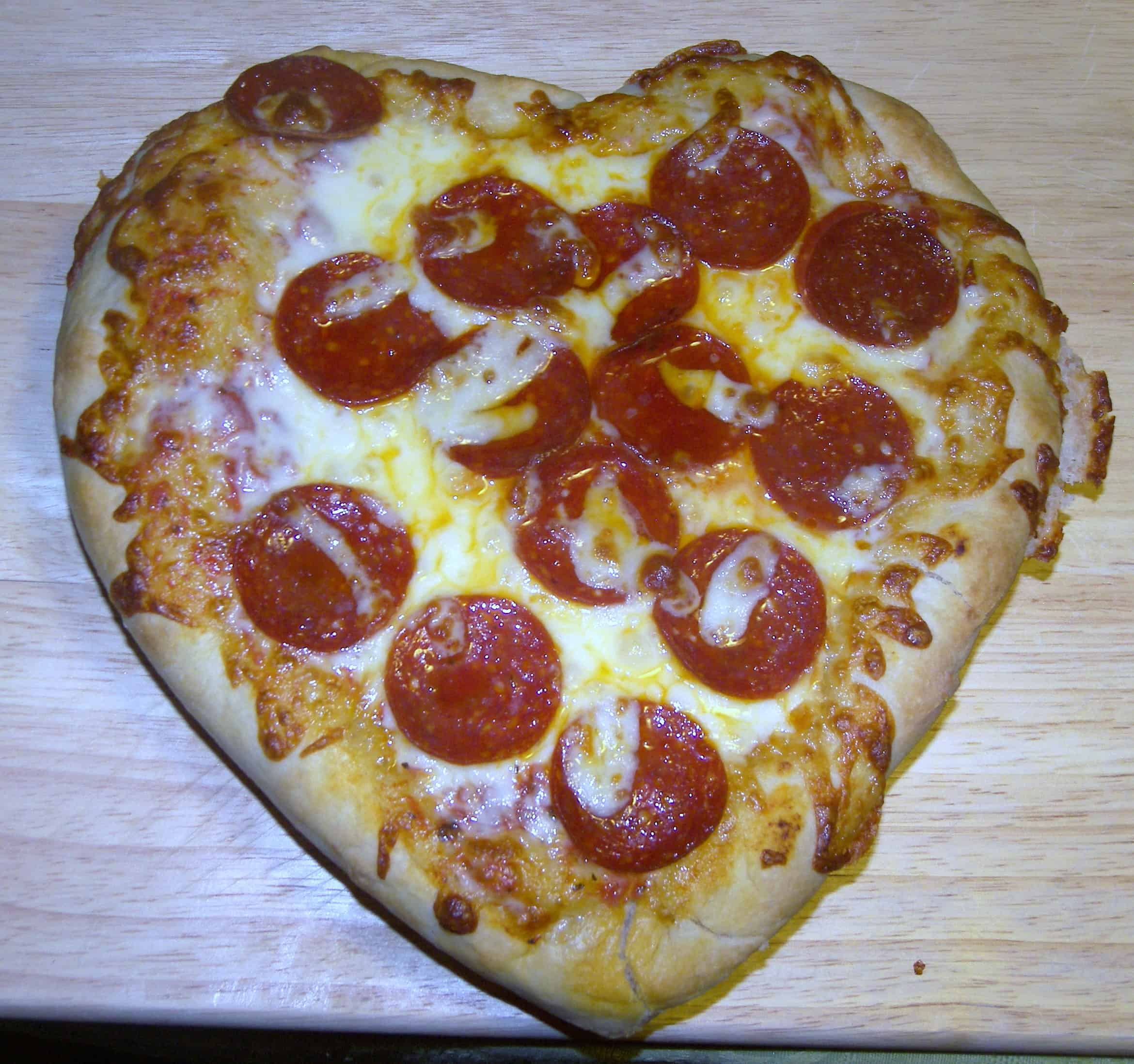 making your own pan pizza  heart-shaped