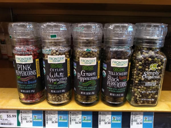 5 different Peppercorns grinders at the store