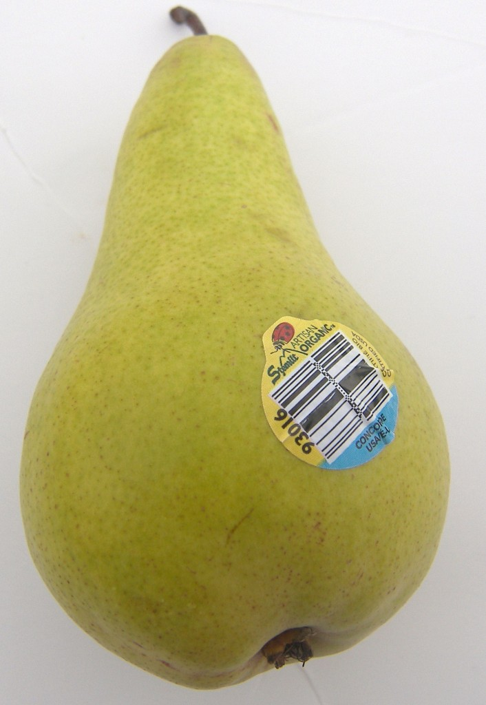 Up close of an Organic Concorde Pear