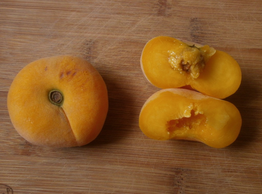 A whole yellow Peach Pie donut peach next to one that has been cut in half to show the small pit inside and that the flesh is the same color as the skin. The peaches are sitting on a wood cutting board.