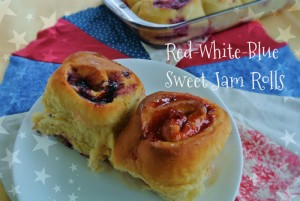 Red White Blue Sweet Jam Rolls