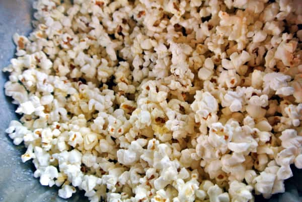 An up close picture of a bowl of Tiny But Mighty Popcorn.