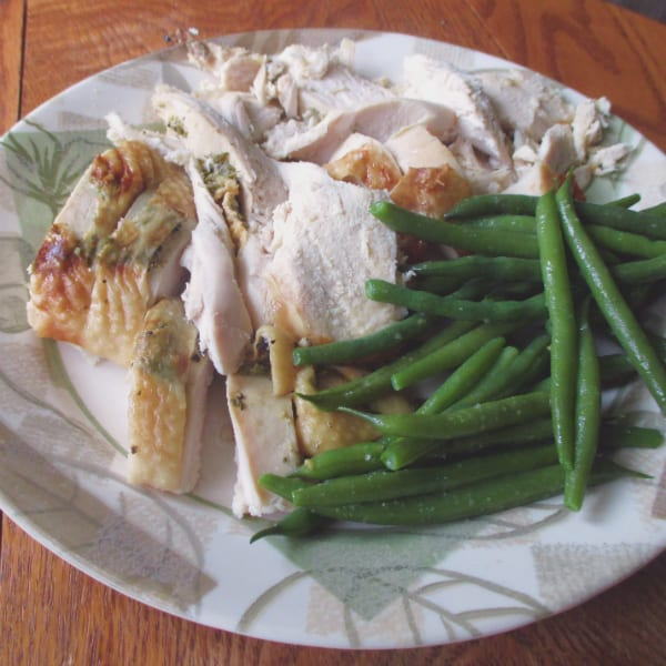 Ina Herb Turkey Breast with Green Beans on the side.