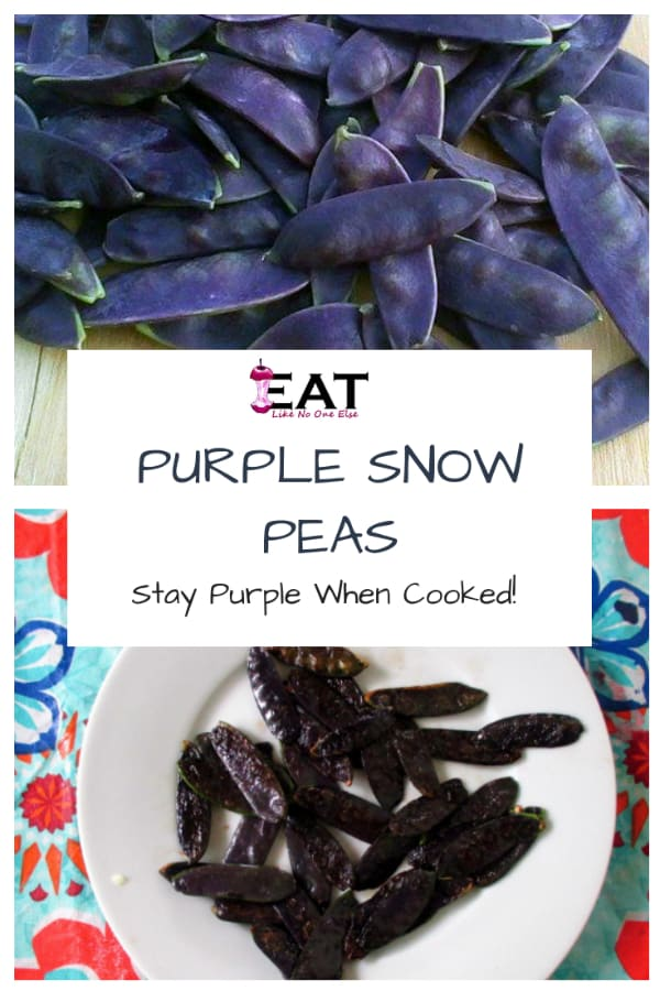 """A collage of raw and cooked purple snow peas with the words """"Purple Snow Peas Stay Purple When Cooked"""" over top."""