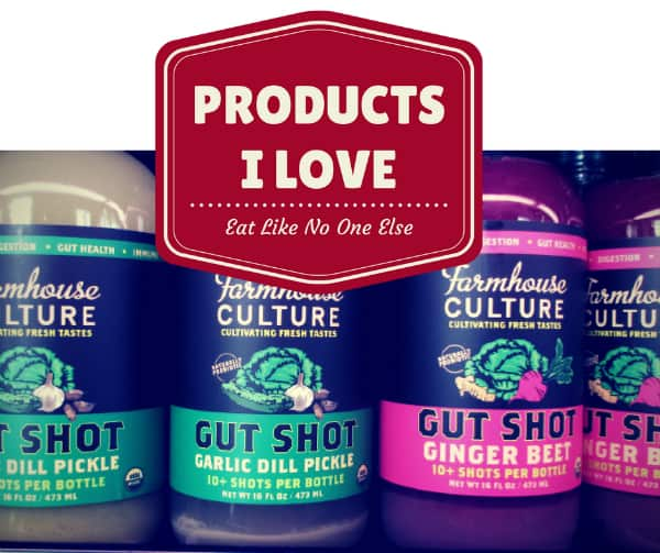The words Products I Love with jars of Farmhouse Culture Gut Shots in Garlic Dill Pickle and Ginger Beet