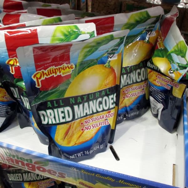Philppine Brand Mangoes bags on display