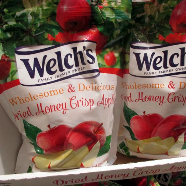 Welchs Dried Honeycrisp bags on display