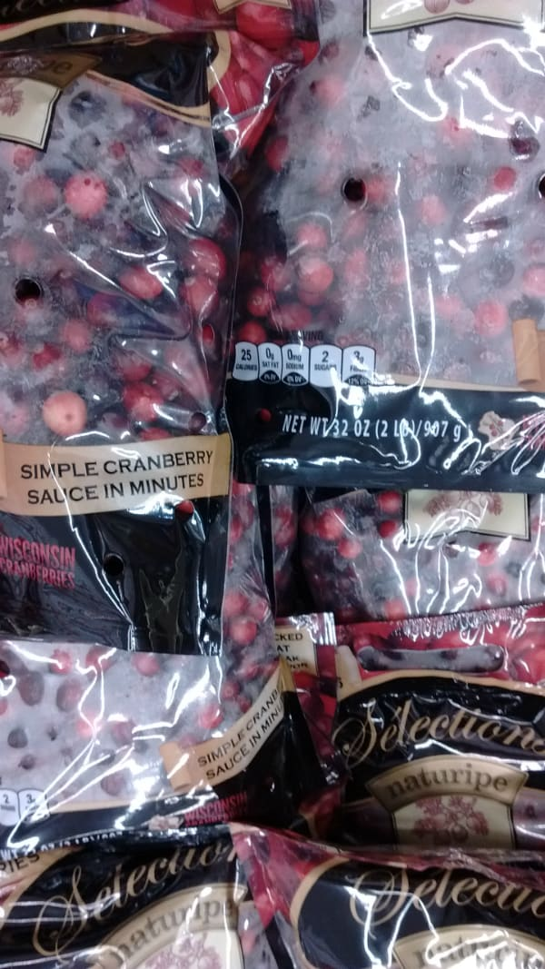 Resealable bags of fresh Wisconsin cranberries