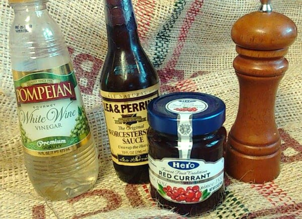 Ingredients I am considering for my own red currant glaze. This time I am going to use white wine vinegar cause I have it on hand but I think red wine vinegar might be a better choice for this recipe.