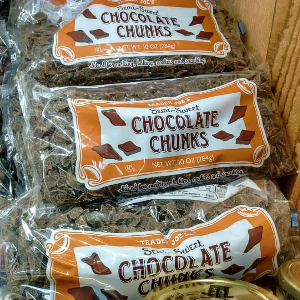 Trader Joes Semi-sweet chocolate chunks on display at the store.