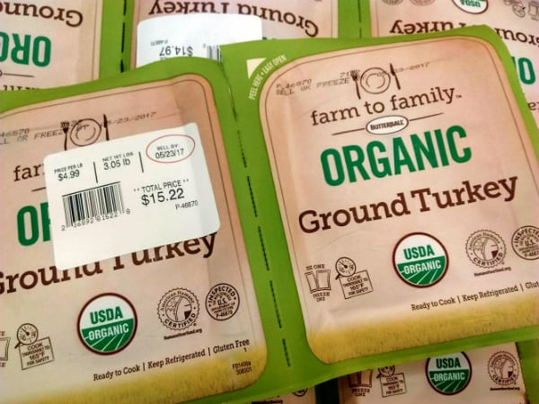 Two packs of Butterball Organic Ground Turkey on display.