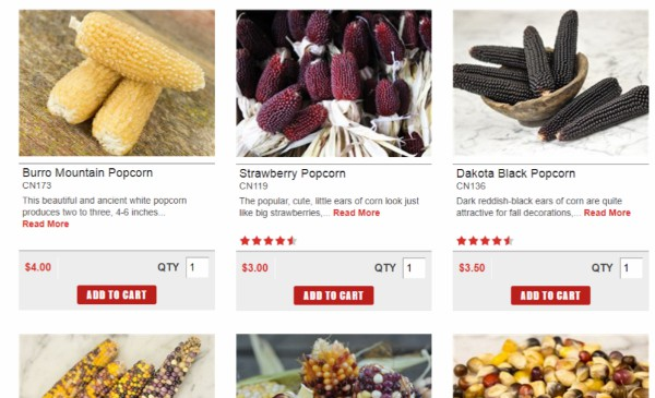 A screen shot of the Baker Creek catalog featuring different varieties of popcorn.