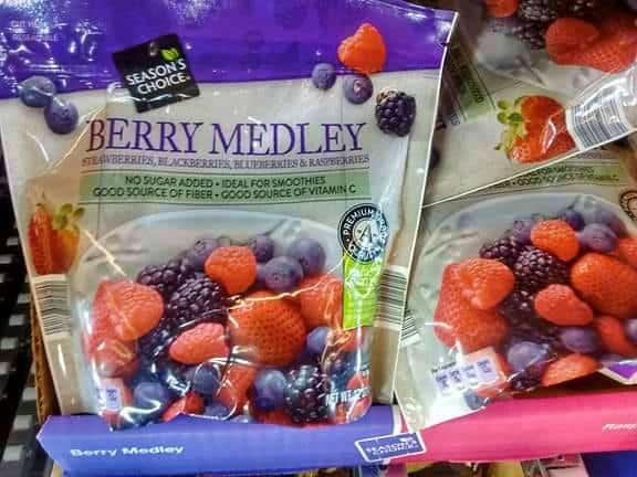 Season's Choice Frozen Berry Medley bags.
