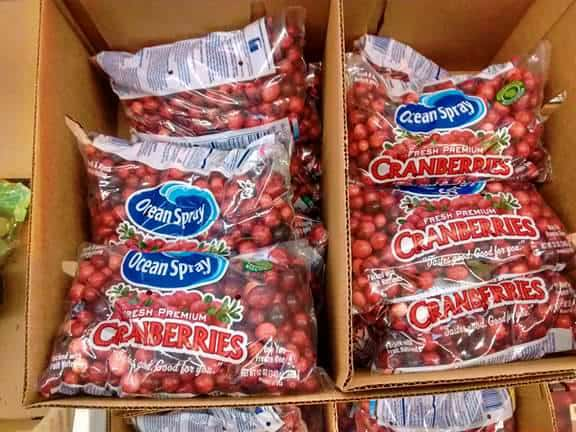 A box of Ocean Spray fresh cranberry bags.