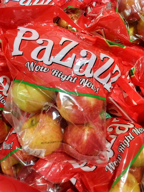 Pazazz apple bag that says Wow Right Now!