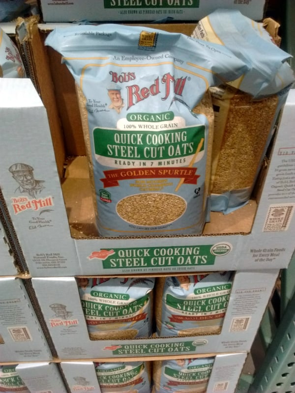 Bobs Red Mill Quick Cooking Steel Cut Oats on display in blue bags
