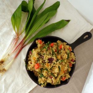 Toasted Quinoa with Wild Ramp Leeks and Diced carrots recipe