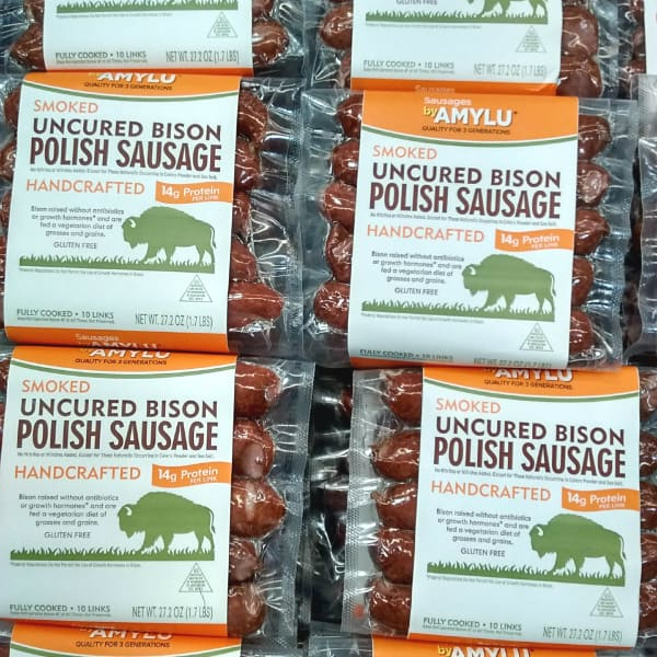 Amylu Smoked Uncured Bison Polish Sausage in packages.