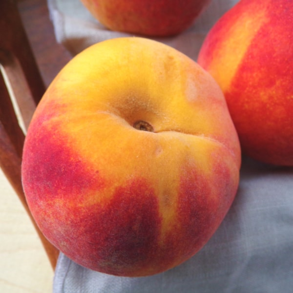 Up close of a peach with yellow, orange, and red skin.