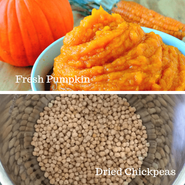 A collage with fresh pumpkin in a bowl on top and chickpeas in the pot of an Instant Pot on the bottom.
