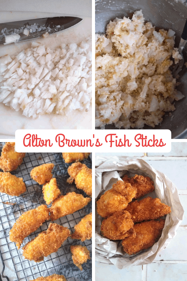 A collage featuring the steps of cooking Alton Brown's Fish sticks