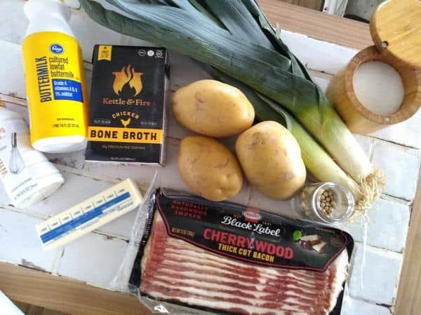 ingredients for potato leek soup - leeks, potatoes, buttermilk, cream, butter, white peppercorns, cherrywood smoked bacon