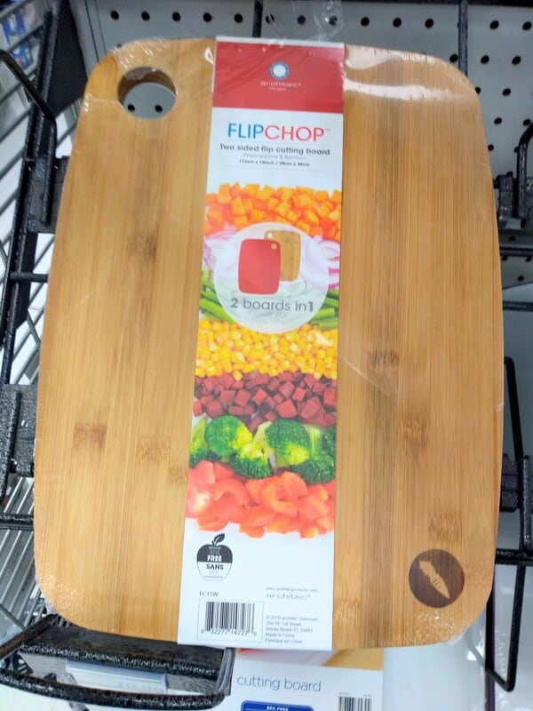 Flip Chop cutting board is wood on one side, plastic on the other.