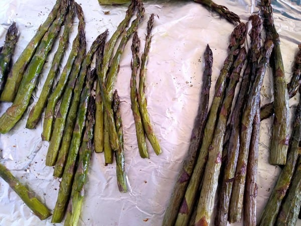 Roasted Green and Purple Asparagus