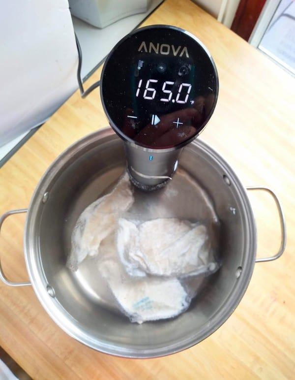 Sous Vide Chicken Cooked in Anova Precision Cooker Nano