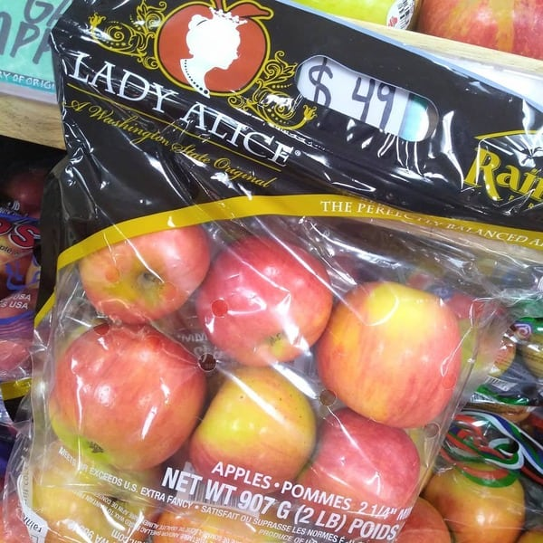Bagged Lady Alice apples at Trader Joe's