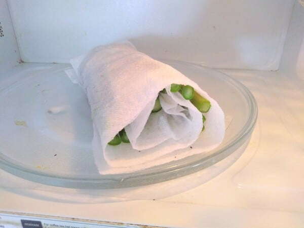 Asparagus in the microwave wrapped in a wet paper towel