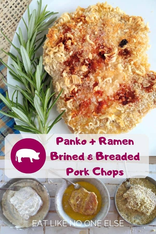 Panko + Ramen Brined & Breaded Pork Chops with Rosemary