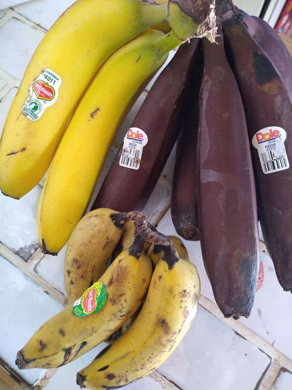 Cavendish, red, and Manzano bananas