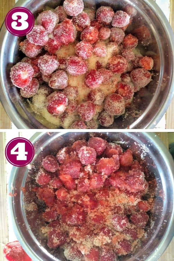 Add sugar to strawberries let sit for 1 hour