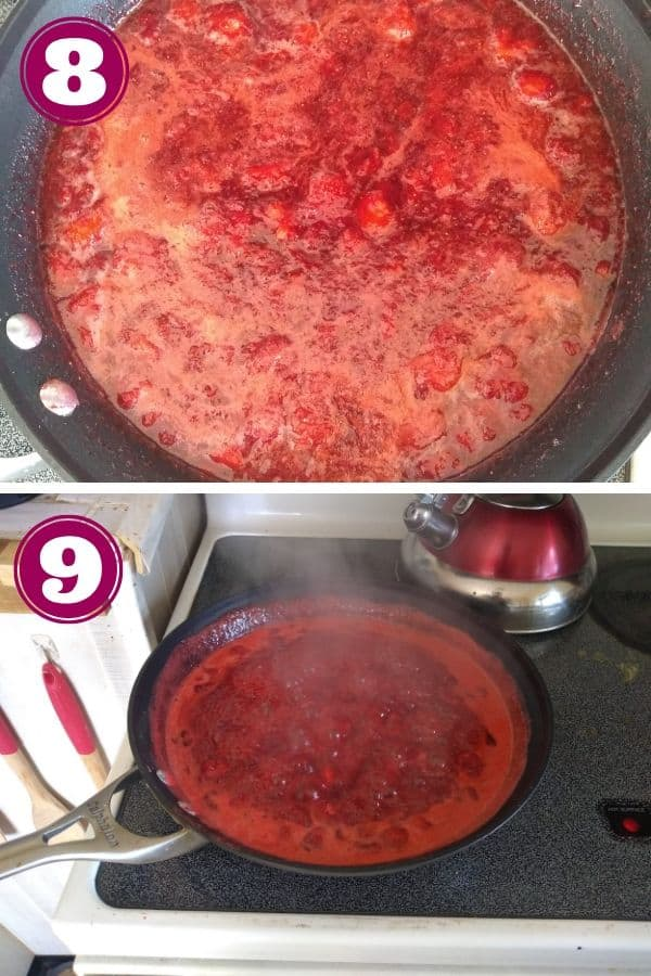 Bring strawberries to a boil