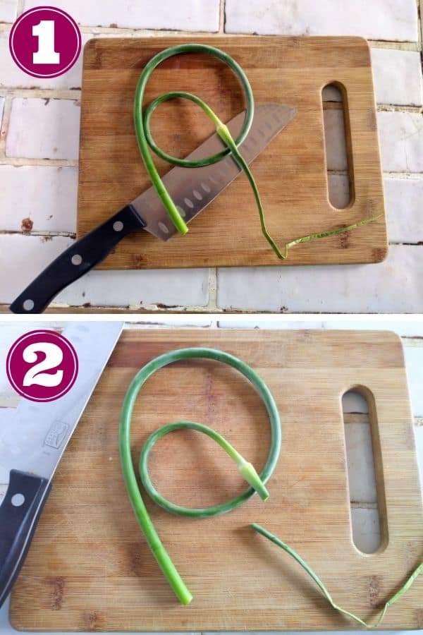 Slice the tips off garlic scapes
