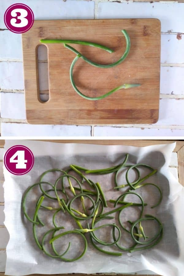 Cut garlic scapes into 2-3 pieces
