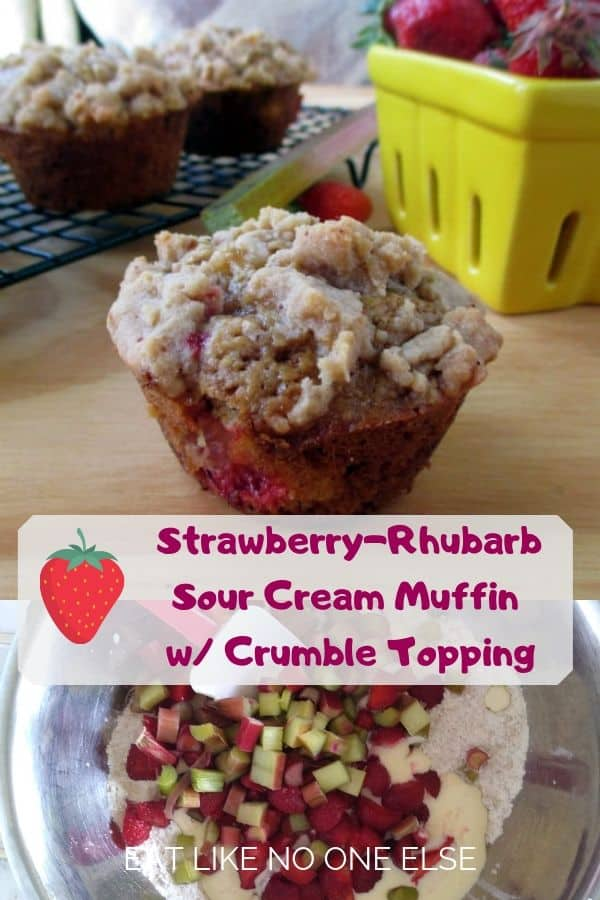 Strawberry Rhubarb Sour Cream Muffins with Crumble Topping