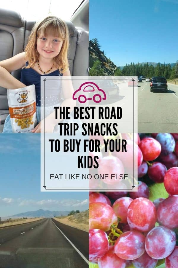 The Best Road Trip Snacks to Buy for Your Kids are in the center of the collage with a girl with granola and a picture of cars on the road and on the bottom a road leading to the mountain and red grapes up close.