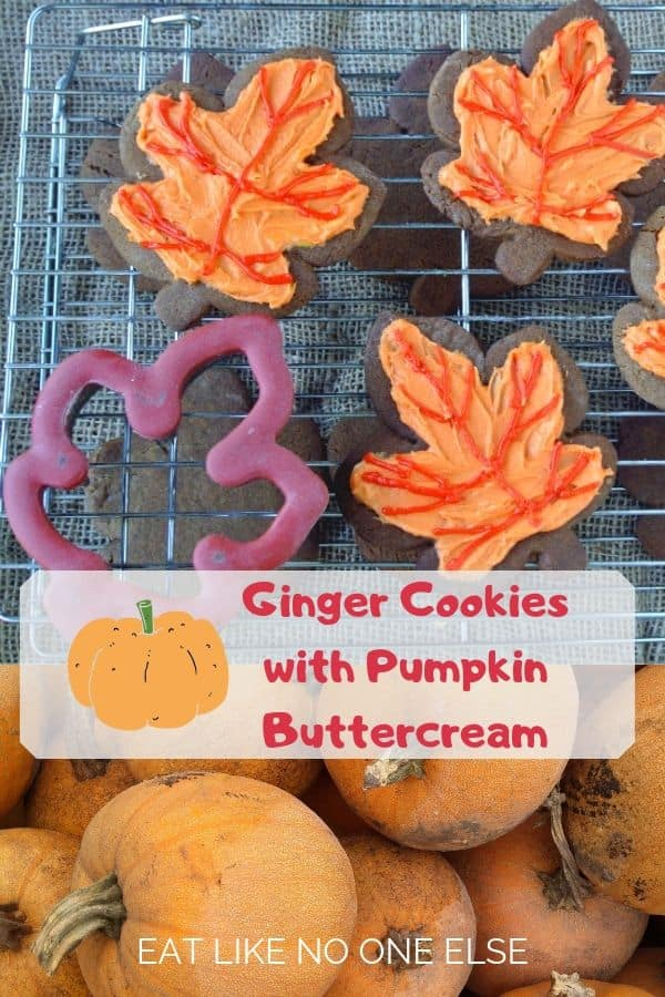 Leaf Ginger Cookies with Pumpkin Buttercream Frosting