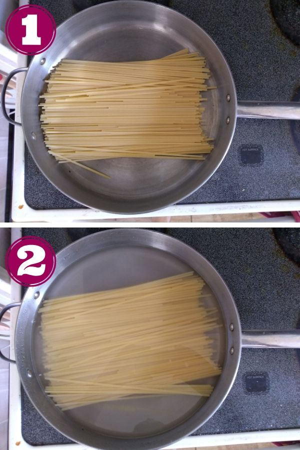 Linguine in a pot covered with cold water
