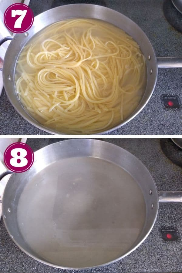 Linguine is finished in the top photo and then removed in the bottom photo - the water remains