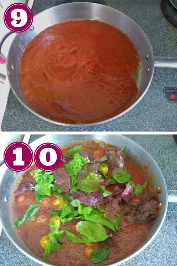 Tomato sauce is added to the pot in the top and then swiss chard and halves cherry tomatoes are added in