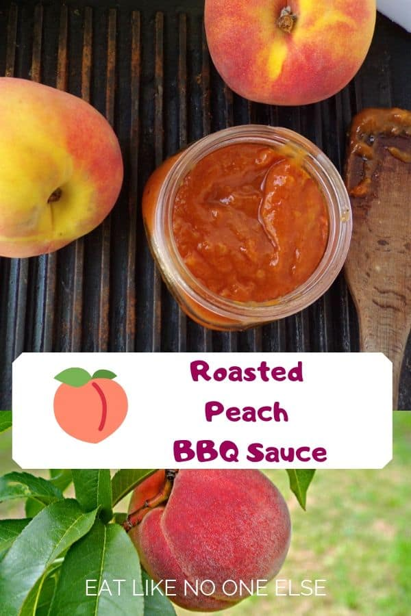 """Roasted Peach BBQ Sauce sitting on a cast iron grill pan with a peach on the bottom of the photo and the words """"Roasted Peach BBQ Sauce"""" in the middle."""