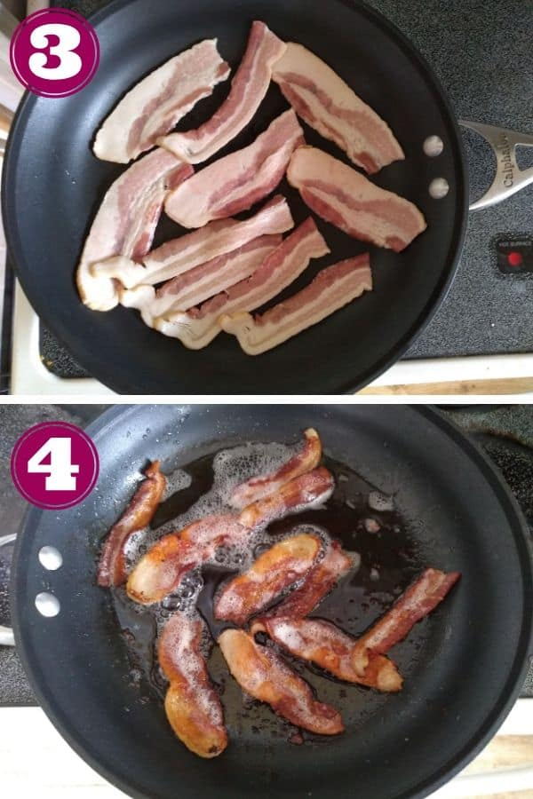 Cut bacon in half and cook bacon til crispy